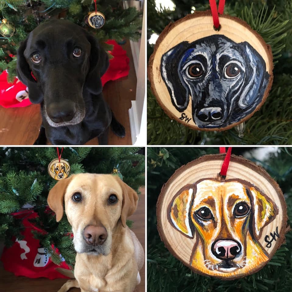 lab wood cookies Custom Pet Portrait Samm Wehman Art