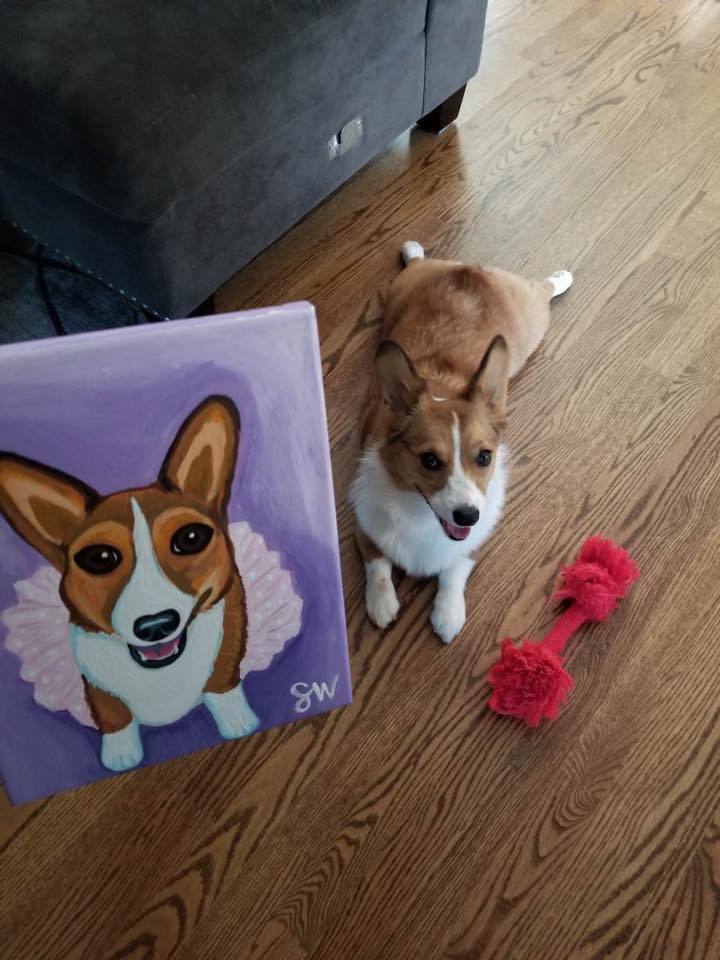 Corgi tutu purple Custom Pet Portrait Samm Wehman Art