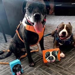 Pitbull pitbulls rescue dog wood block art Custom Pet Portrait Samm Wehman Art