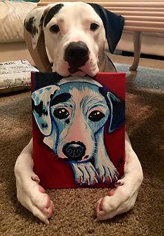 samm wehman art manny custom pet portrait pitbull dog