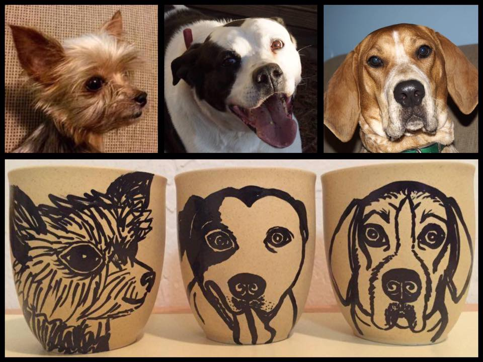 Custom Pet Portrait Samm Wehman Art coffee mugs