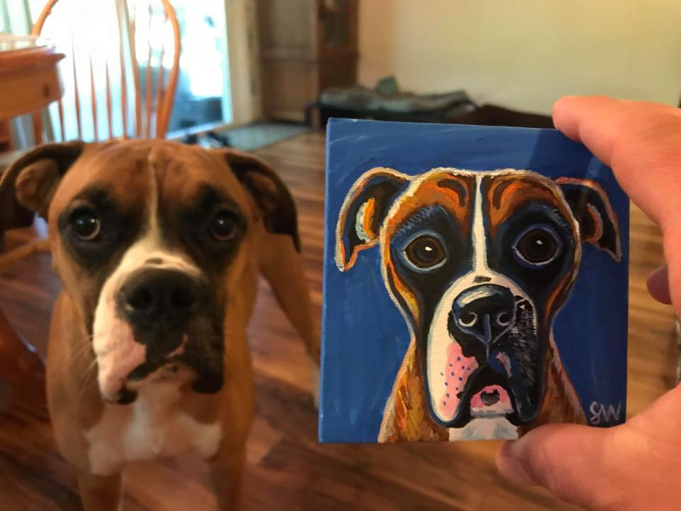 Boxer painting Custom Pet Portrait Samm Wehman Art