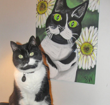 Ron the cat tuxedo Custom Pet Portrait Samm Wehman Art