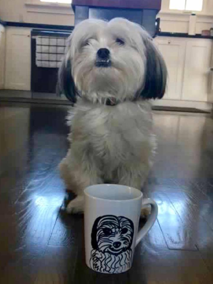Shih Tzu Coffee Mug Custom Pet Portrait Samm Wehman Art