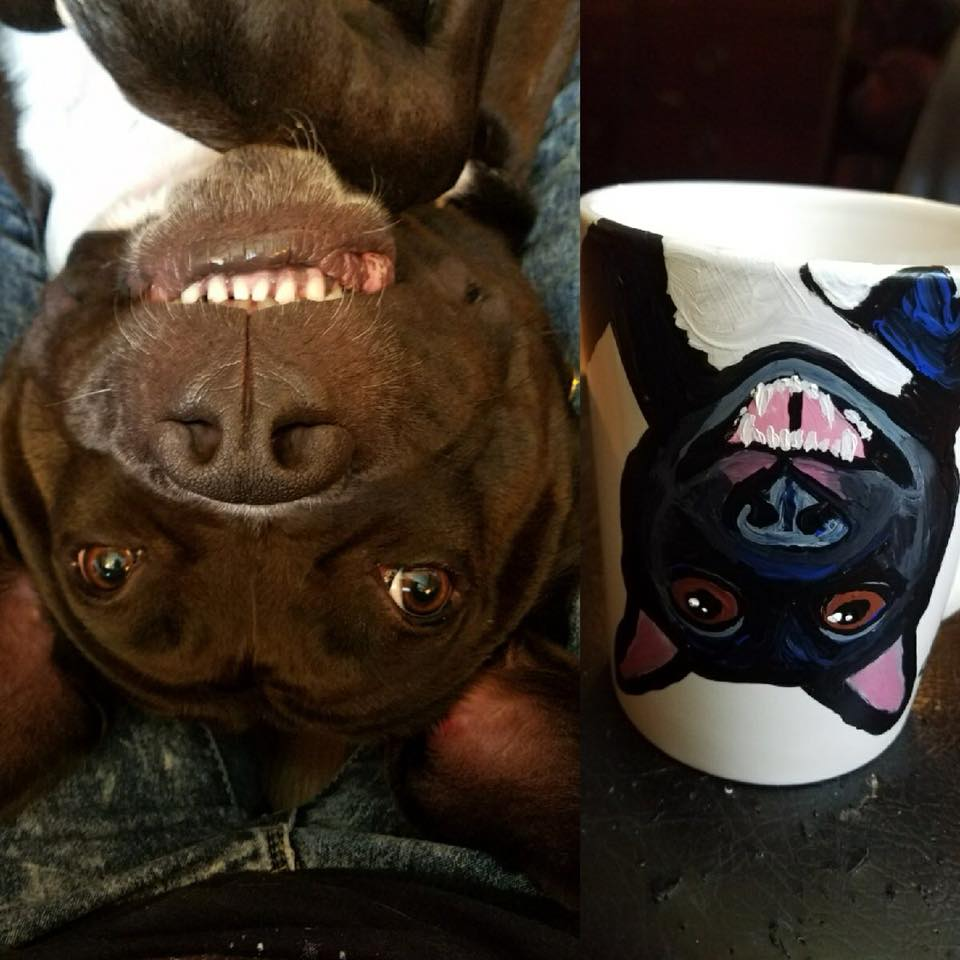 pitbull pit bull mix coffee mug Custom Pet Portrait Samm Wehman Art