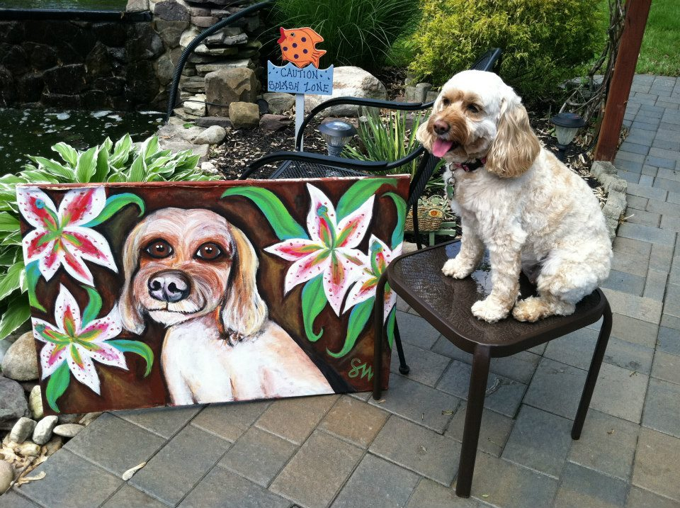 Mimi wheaten terrier mix Custom Pet Portrait Samm Wehman Art lilies flowers