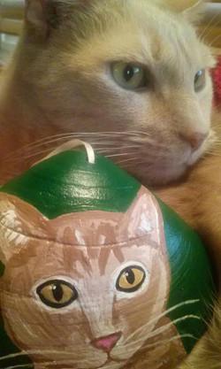 cat sea shell holiday ornament Custom Pet Portrait Samm Wehman Art