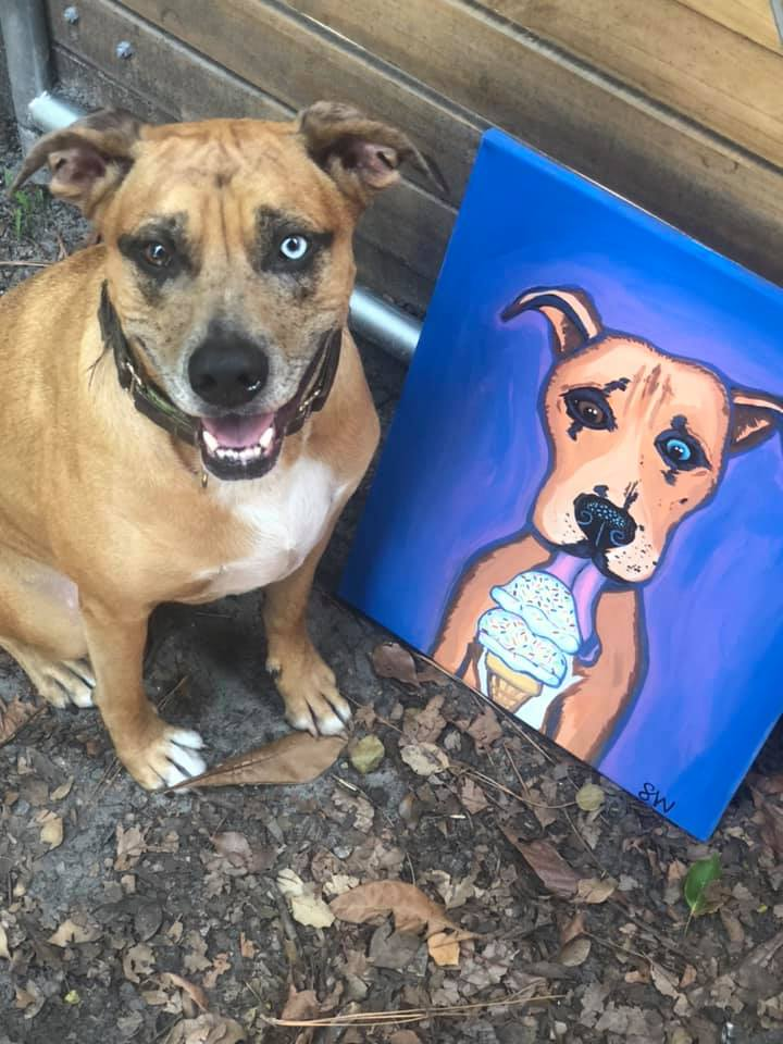 Catahoola Pit Mix eating ice cream Custom Pet Portrait Samm Wehman Art