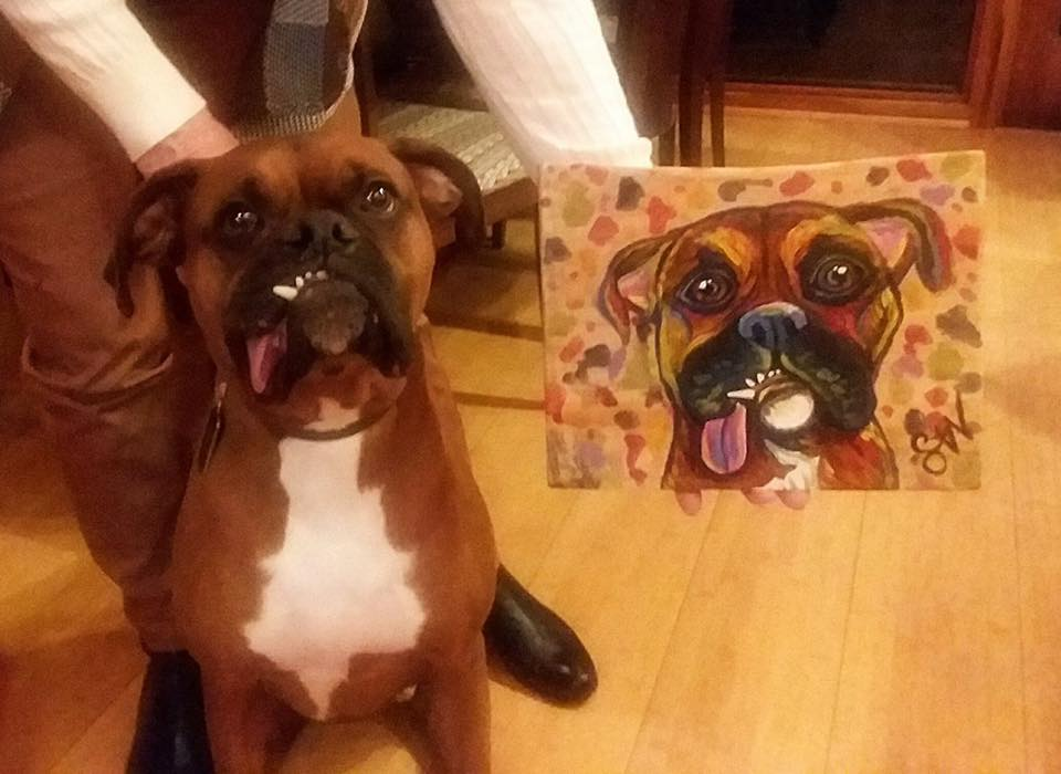 Jet Boxer Custom Pet Portrait Samm Wehman Art
