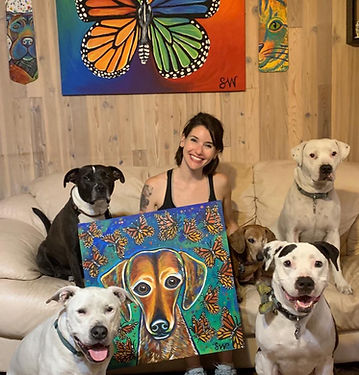 samm wehman art rainbow butterfly monarch pitbulls pit bulls pitbull dogs rescue family
