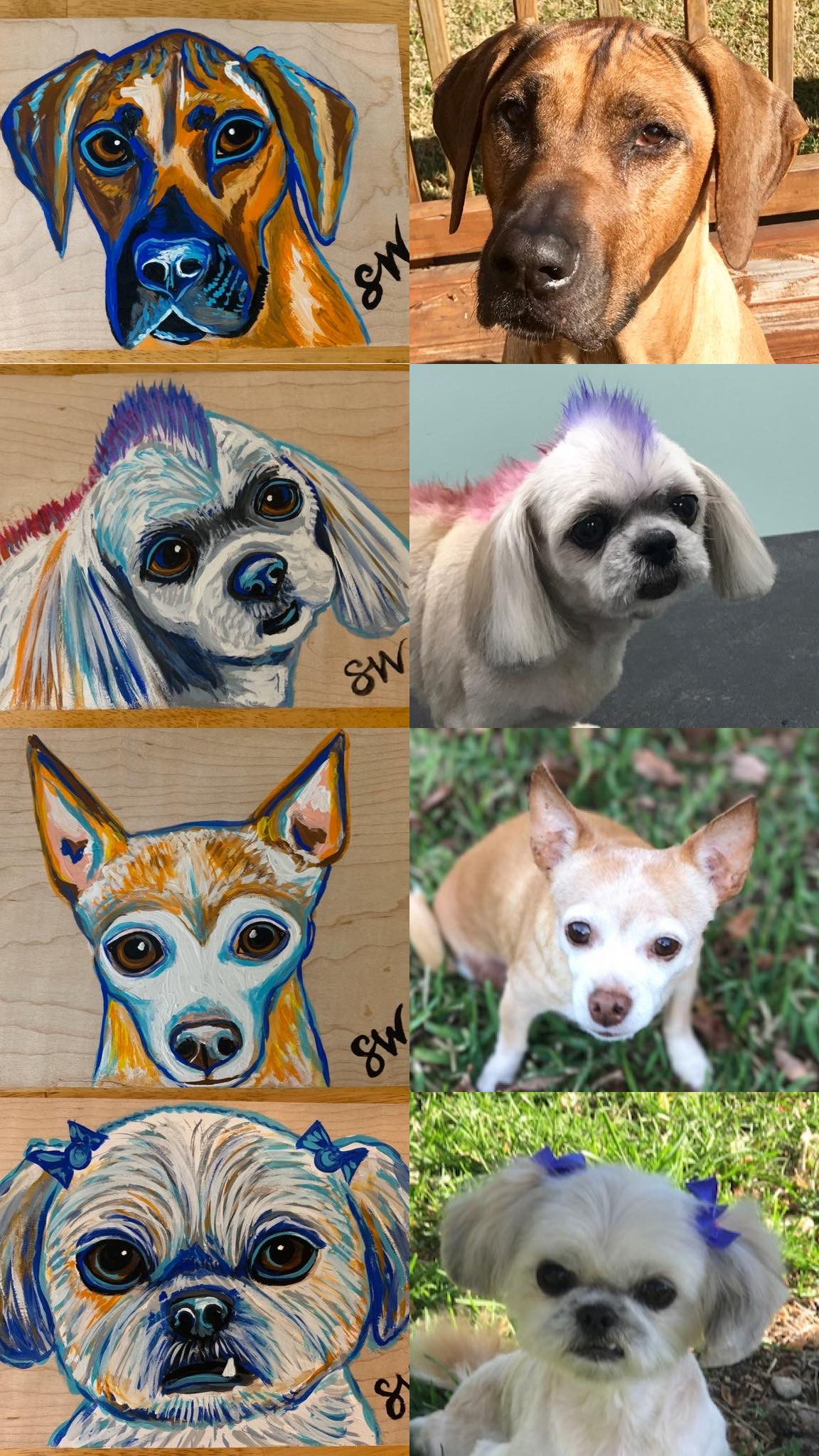 Wood paintings Custom Pet Portrait Samm Wehman Art