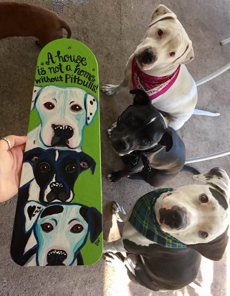 Repurposed fan blade art painting Kimmie Onyx Manny pitbulls Custom Pet Portrait Samm Wehman Art