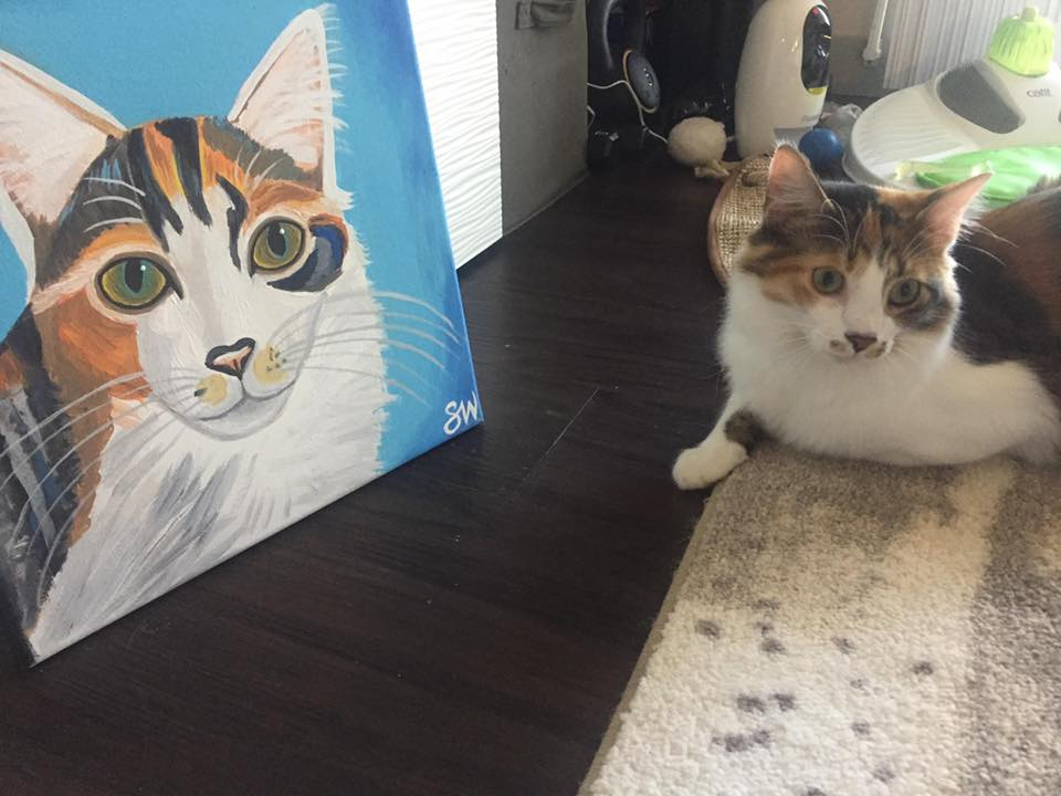Fluffy calico cat painting Custom Pet Portrait Samm Wehman Art