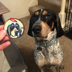 Wood cookie hound holiday ornament Custom Pet Portrait Samm Wehman Art