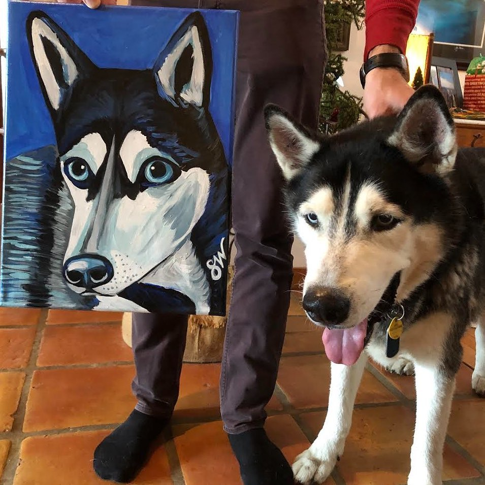 Husky painting art Custom Pet Portrait Samm Wehman Art