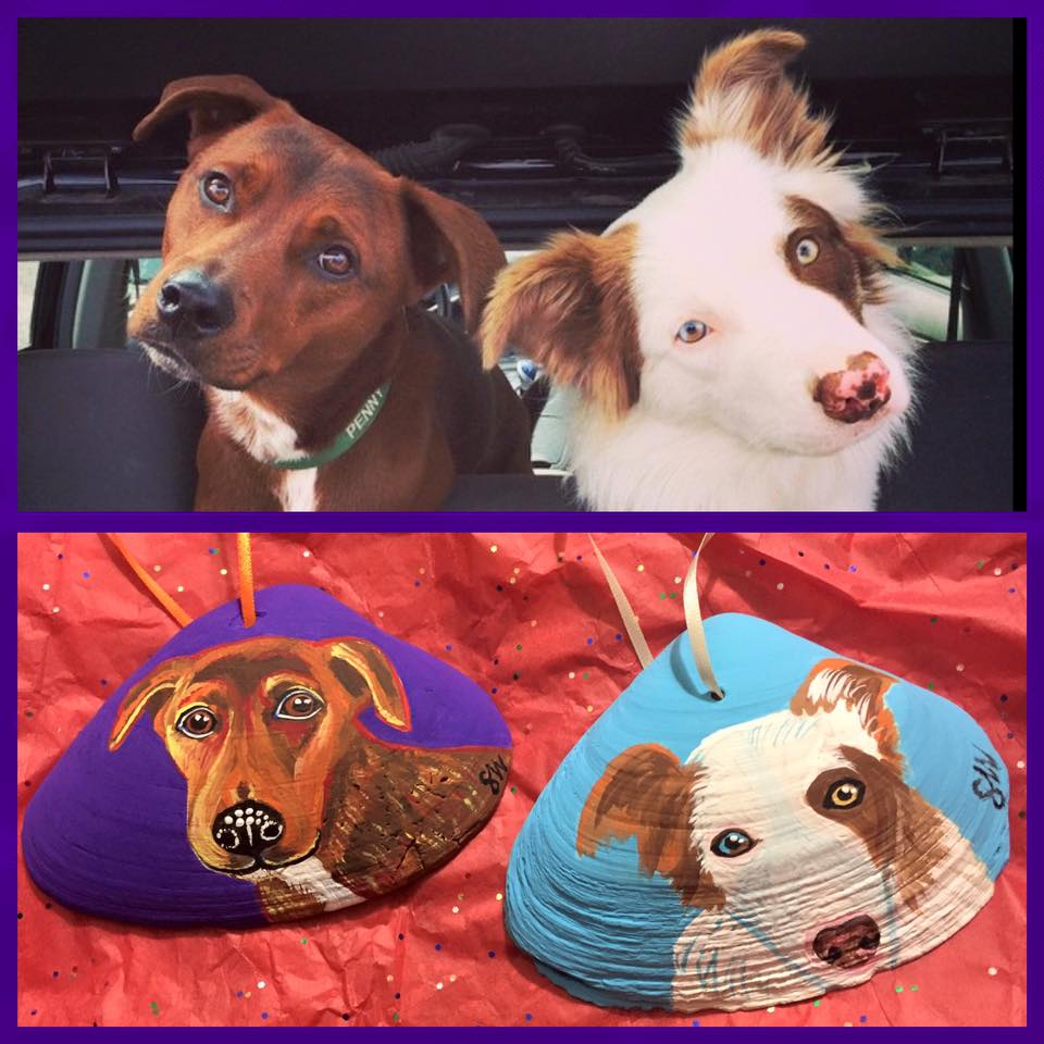 Custom Pet Portrait Samm Wehman Art sea shell holiday ornaments Penny
