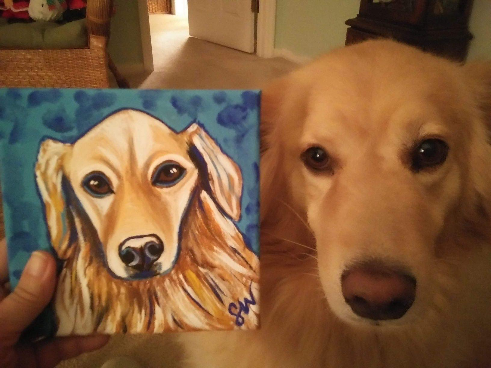 Golden Retriever Custom Pet Portrait Samm Wehman Art