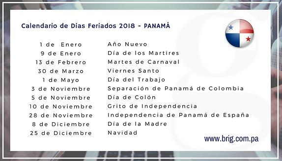 Calendario Panama 2019 Con Festivos.Feriados Panama 2018