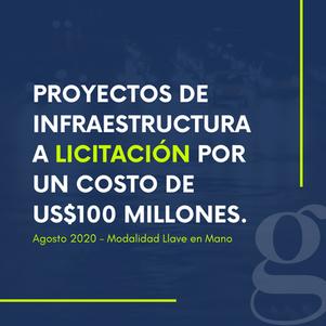 Proyectos de infraestructura a licitación por un costo de US$100 millones