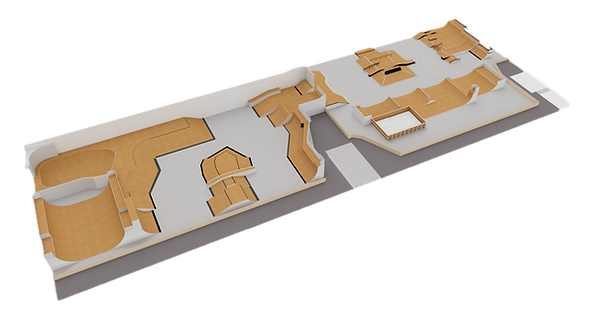 Plan 3D Le Hangar skatepark