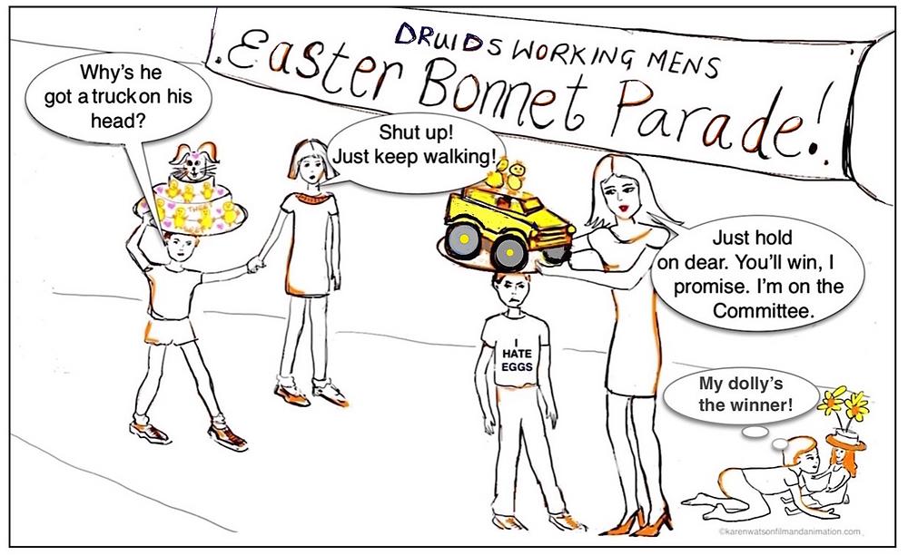 Easter Bonnet Parade at the Working Mens ©karenwatsonfilmandanimation/blog creative