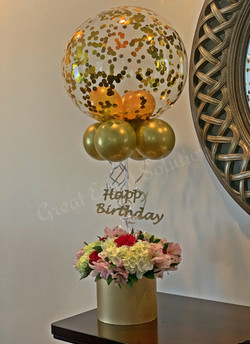 Fresh flowers with balloons