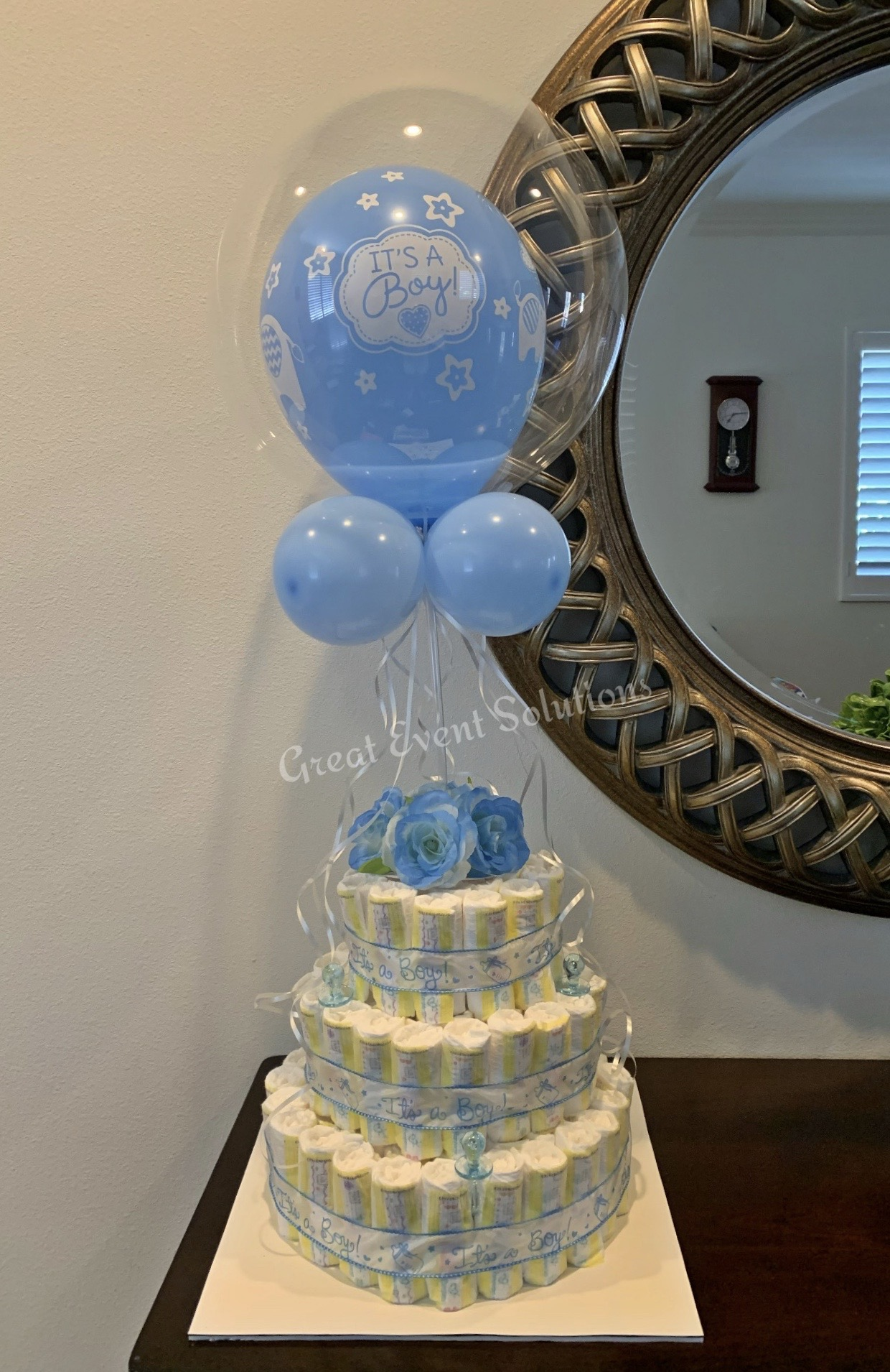Diaper Cake with balloons