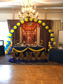 Balloon Arch and candy bar setup