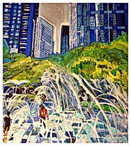 Paula Baker's Painting of Downtown Houston's Discovery Green hangs on Main Street in Bombay Pizza within the ART BLOCKS.