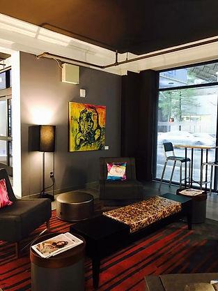 Paula Baker's THE LIZARD KING hangs in Downtown Houton's Aloft Hotel, WXYZ Bar.