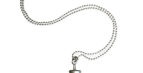 Sterling Silver Heavy Barbell Necklace