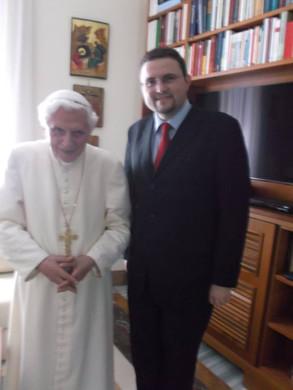 Visita ao Papa Emérito Bento XVI, Mosteiro Mater Ecclesiae, 2014.