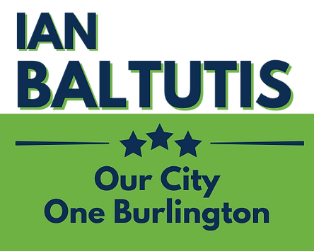 Green, blue, and white logo for Mayor Ian Baltutis - Our City One Burlington
