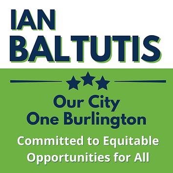 Green, blue, and white logo for Burlington, NC Mayor Ian Baltutis
