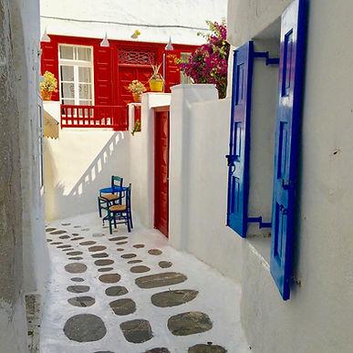 Typical alley found in Chora, Mykonos