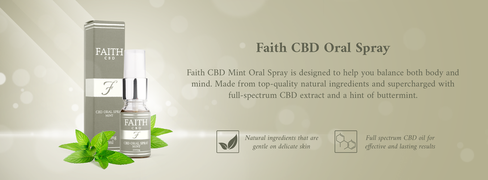 Faith CBD skincare wellness products. Anxiety and pain relief, stress reduction. Mint Oral Spray.