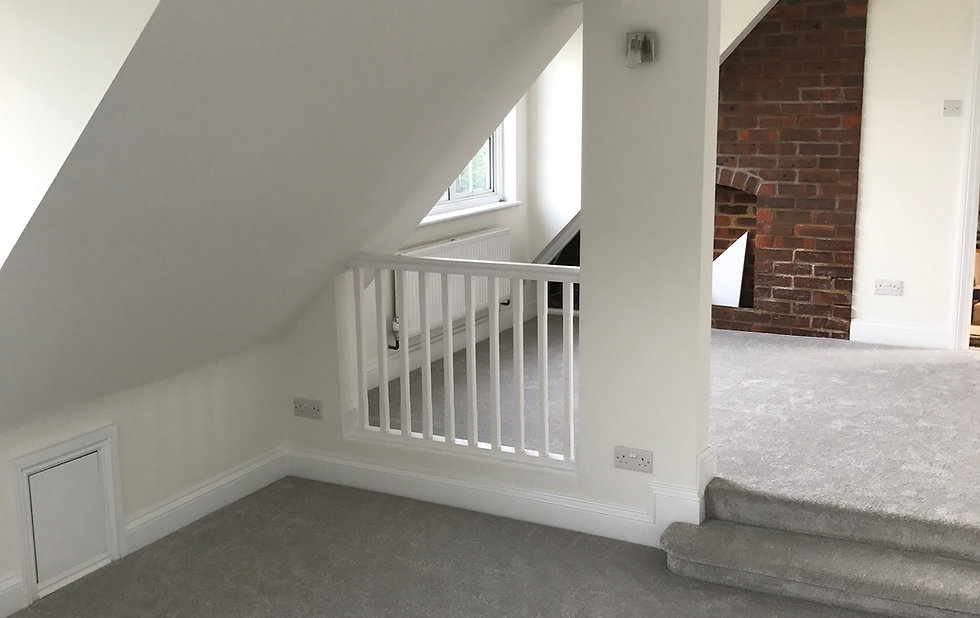 Bannister, painting, carpentry, carpet, bedroom, renovation