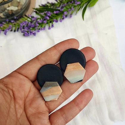 Marble Hexagon Earrings