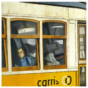 Looking at me by the window, Lisbon tram