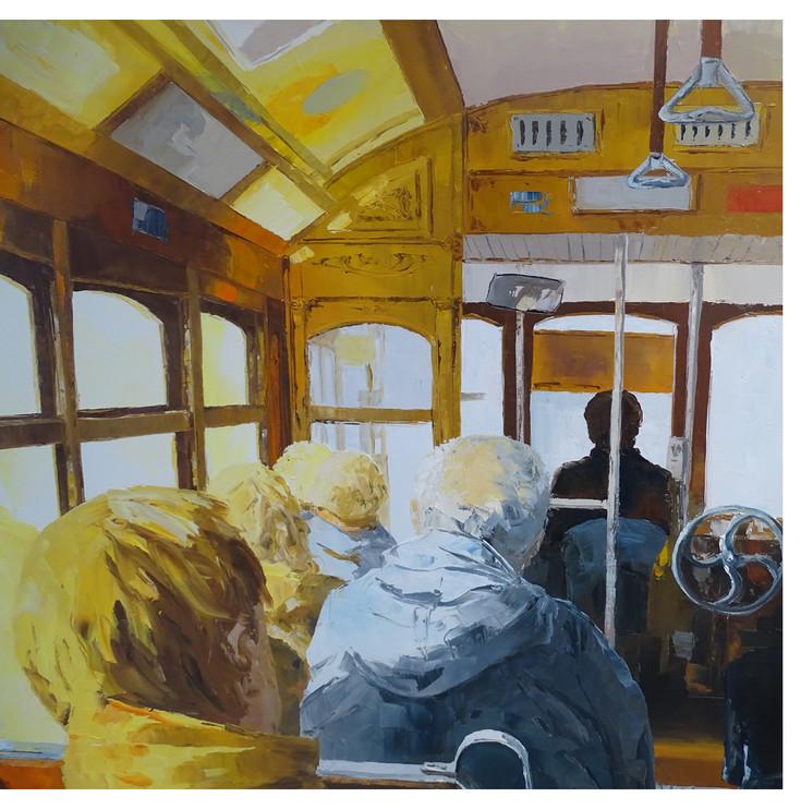 inside tram Lisbon, close up
