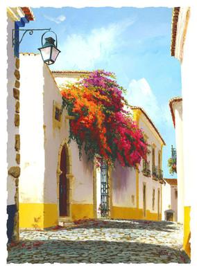 Street with bougainvilla, Portugal