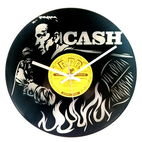 Johnny Cash Carved Vinyl Clock