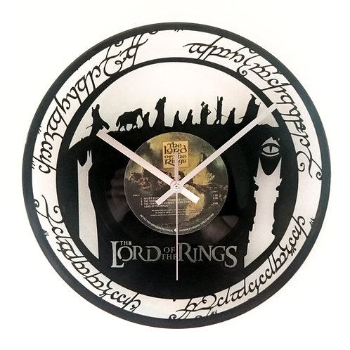 Lord of the Rings carved record clock