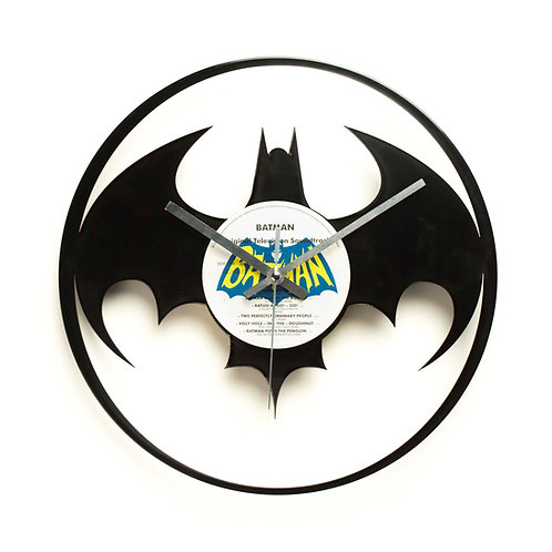 Modern Batman Logo Cut Vinyl Clock