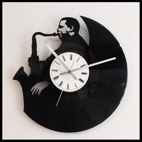 Jazz Saxaphone Cut Vinyl Clock