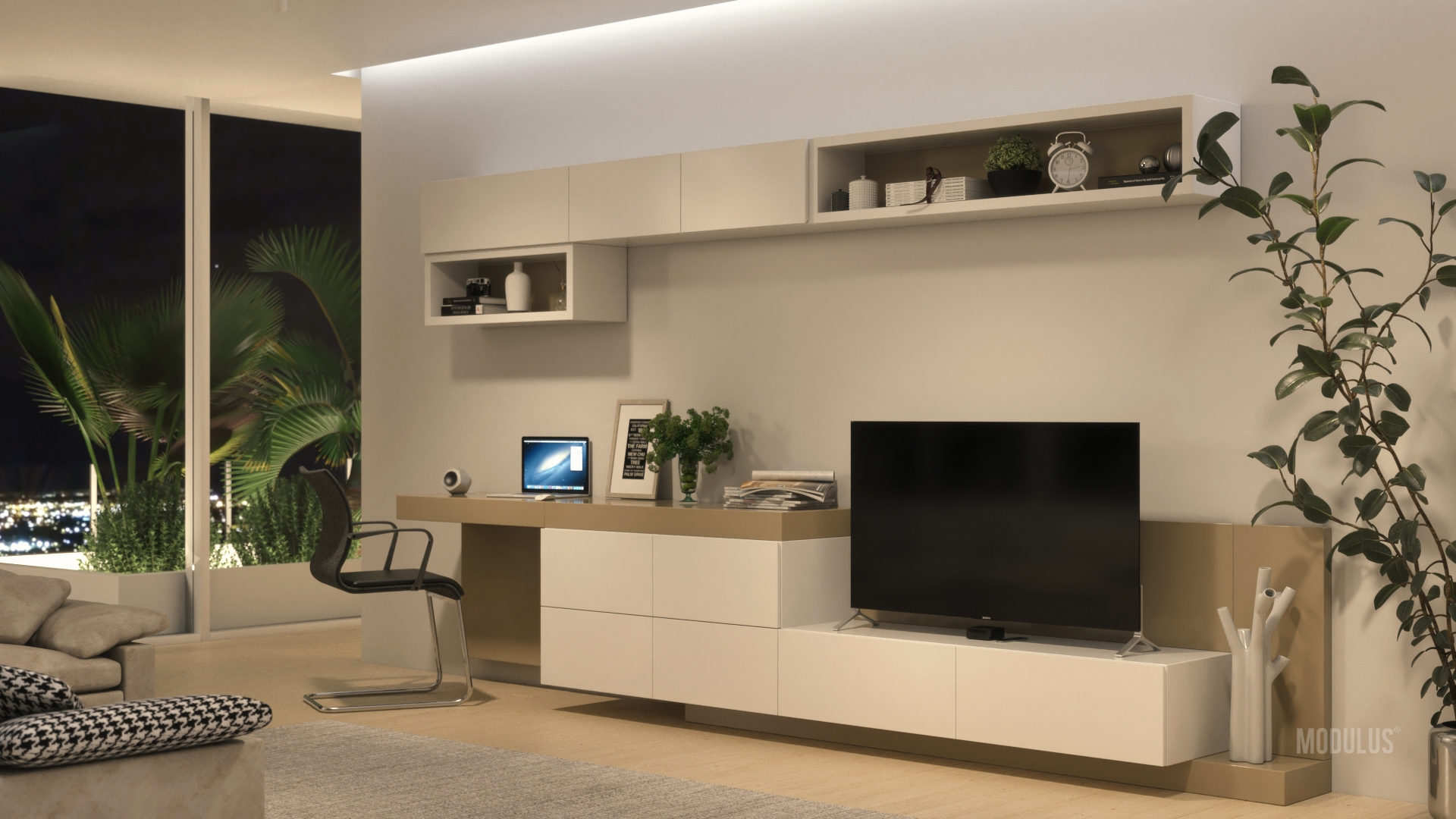 Mueble para living con escritorio