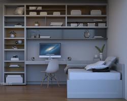 diseño de dormitorio con escritorio