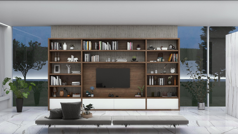 diseño de biblioteca para living