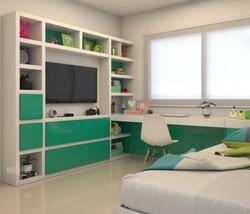 Biblioteca en dormitorio