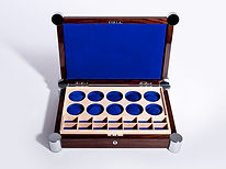 Watch Case in Rosewood, Maple and Suede, with Chrome fittings